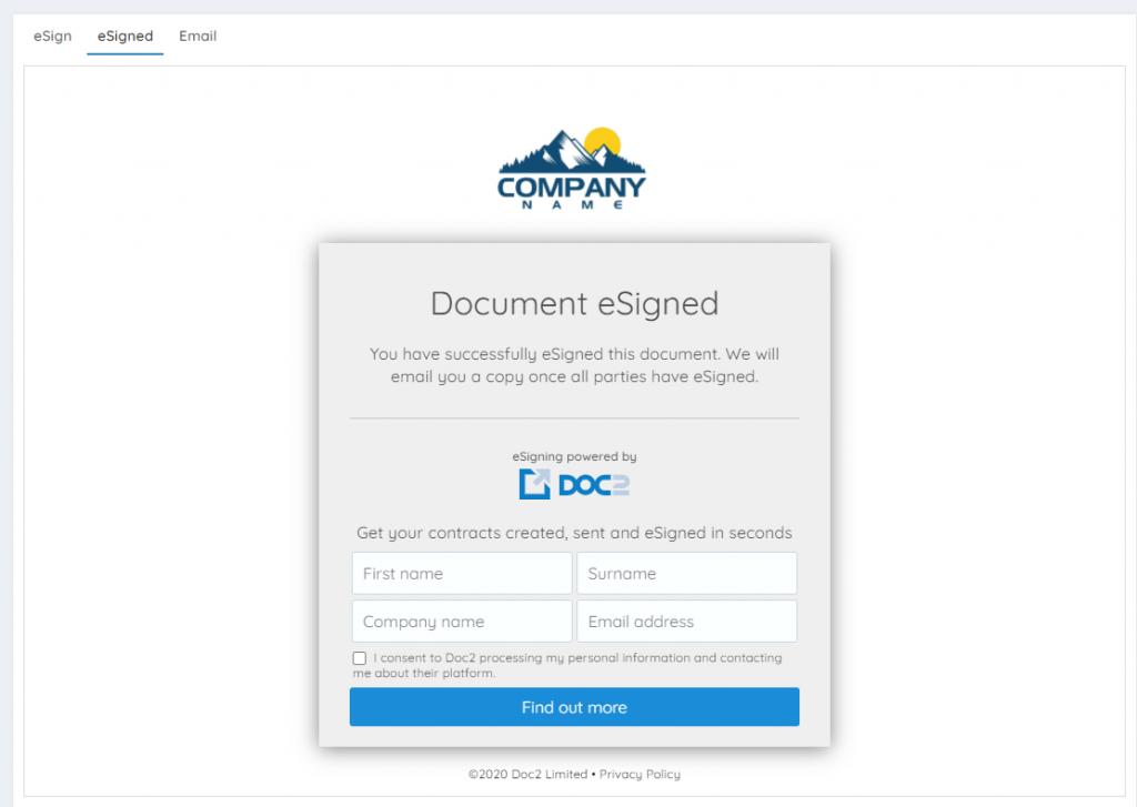 Custom branded eSigning page
